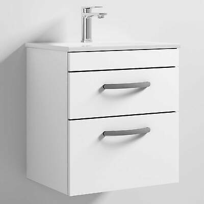 Premier Athena Wall Hung 2-Drawer Vanity Unit with Basin 2 Gloss White 500mm