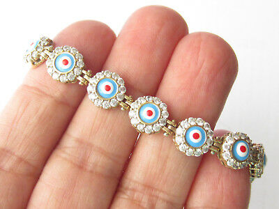 925 Sterling Silver Turkish White Topaz Blue Enamel Evil Eye Tennis Bracelet