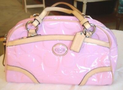 COACH Peyton Embossed Signature Orchid Patent Leather Satchel Bag F20065 Unused