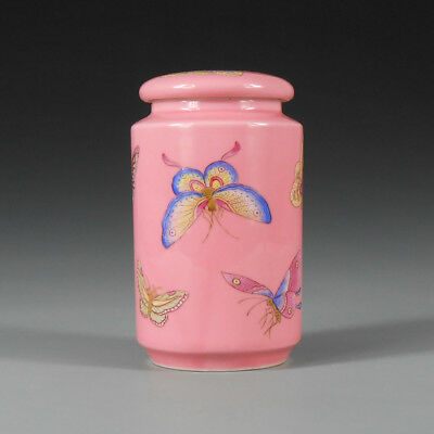 "5"" China antique Porcelain Qing guangxu pink famille rose butterfly Tea canister"