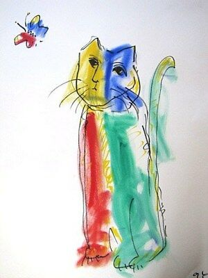 Art Drawing/Painting of Kitty Cat w/Butterfly Fun Colorful Whimsical Watercolor