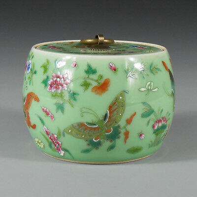 China antique Porcelain qianlong green famille rose painting Butterfly lid pot
