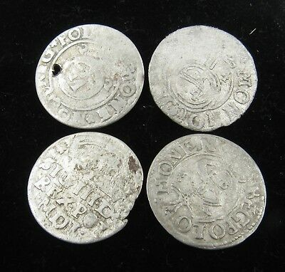 Authentic Lot Of 4 Medieval Silver Hammered Coins - E509