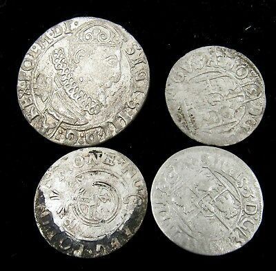 Authentic Lot Of 4 Medieval Silver Hammered Coins - E510