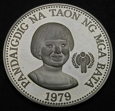 PHILIPPINES 50 (Republic) Piso 1979 FM Proof - Silver - Year of the Child - 419