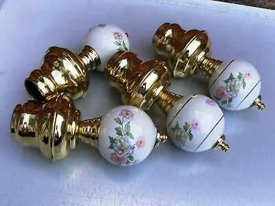 Vintage Brass and Ceramic Bed Frame Finials 4x