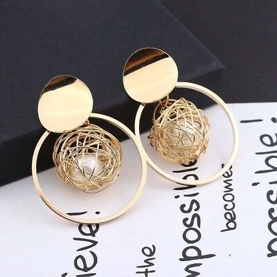 Women Gold Plated Round Pearl Cage Dangle Drop Earrings Ear Stud Charm Jewelry