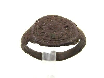 Authentic Medieval Bronze Heraldic Crest Seal Ring - Wearable - E528