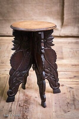 Late 19th Century Japanese Carved Hardwood Tripod Table