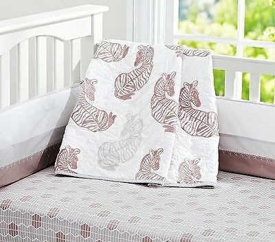 New Pottery Barn Baby Zebra Safari Quilt & Crib Skirt, $228