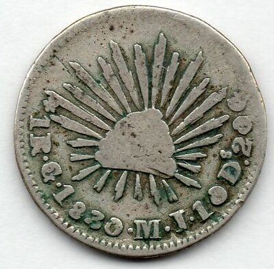 Mexico 1 Real 1830 GoMJ (90.3% Silver) Coin