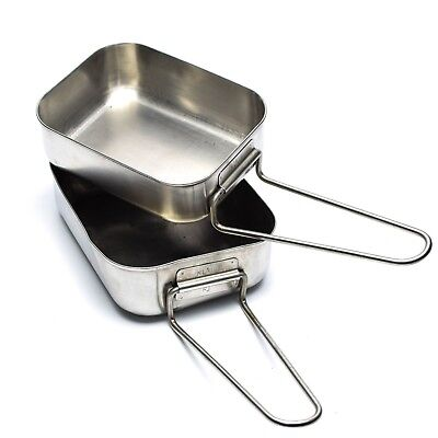 Original Dutch Army stainless steel Mess tins mess kit Cooker Military Bushcraft