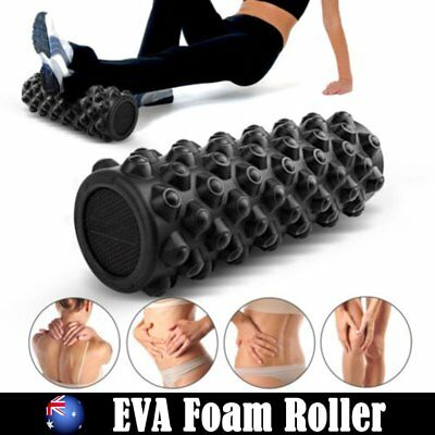 EVA Grid Foam Roller Physio Pilates Yoga Gym Massage Trigger Point Black 36cm AU