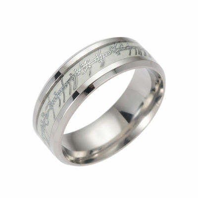 8mm Lord of the Rings Luminous Ring  Gold Silver Stainless Steel Ring Silver 8#
