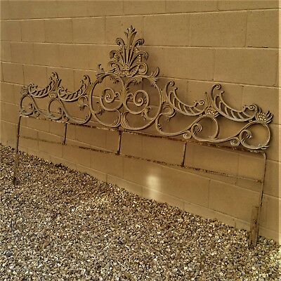 Vintage King Size Rococo Baroque French Ornate Gold Gilt Cast Iron Headboard