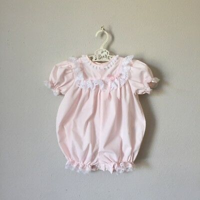 Vintage Baby 80s 90s Girl Infant 6 9 Months Pink Bubble Romper Playsuit Lace