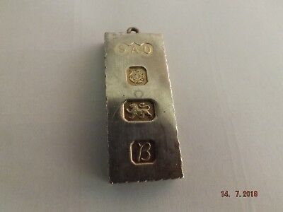 LOVELY LARGE HEAVY 1oz ENGLISH ANTIQUE 1976 SOLID STERLING SILVER INGOT PENDANT