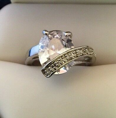 Designer Cocktail Ring Oval Cubic Zirconia High End Vintage Couture r9O