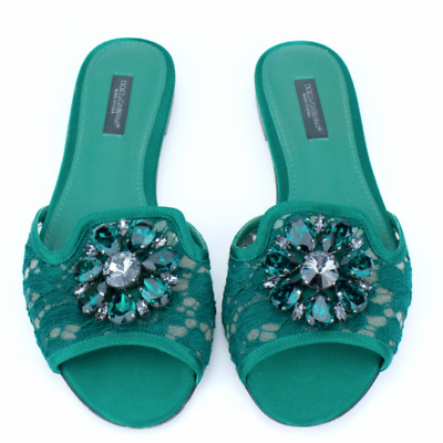 886cda4588ef5e DOLCE GABBANA green lace crystal jewel embellished brooch flat slip sandals  EU37