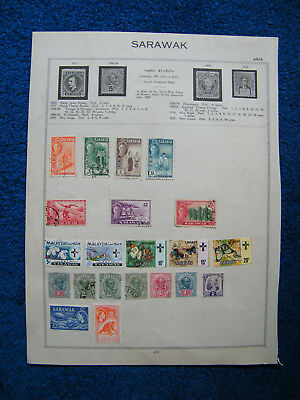 Old Album Page of Sarawak Stamps.