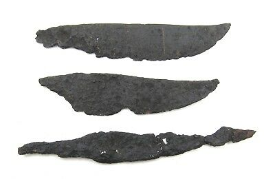 Authentic Lot Of 3 Medieval Viking Era Iron Skinning / Torture Knives - L729