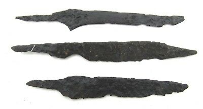 Authentic Lot Of 3 Medieval Viking Era Iron Skinning / Torture Knives - L730
