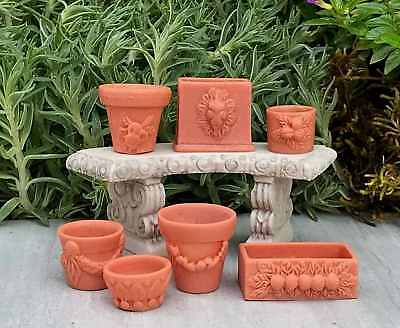 1:12 Dolls House Miniature Fairy Garden Accessories Set of 7 Assorted Flower Pot