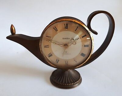 Vintage Swiza Swiss 8 Day 7 Jewel Alarm Clock Modelled as Genie Lamp with Flame