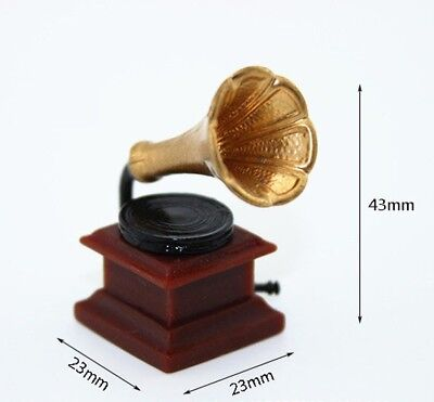 Vintage 1:12 Dolls House Miniature Furniture Gramophone Phonograph Record Player