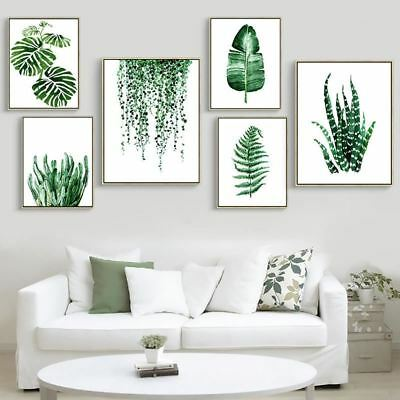 Modern Green Tropical Plant Leaves Canvas Art Print Poster , Nordic Green Plant