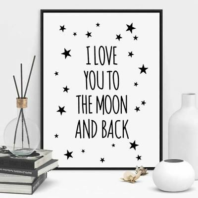 I Love You To The Moon And Back Quote Canvas Star Art Print Poster Kids Room Wal
