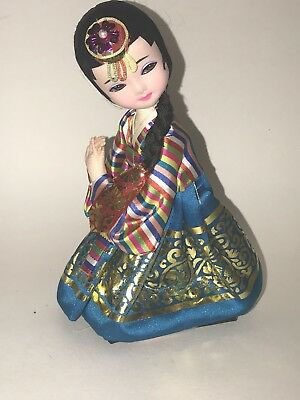 Vintage KOREAN DOLL In Colorful Traditional HANBOK Dress Made in Korea Sits 7""