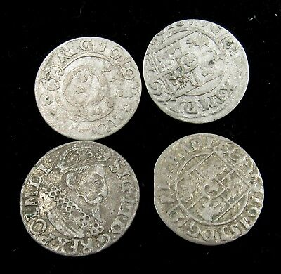 Authentic Lot Of 4 Medieval Silver Hammered Coins - E543