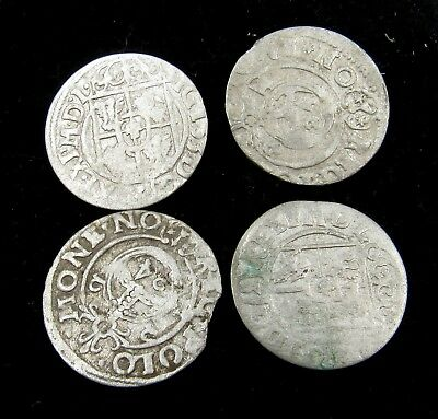 Authentic Lot Of 4 Medieval Silver Hammered Coins - E544
