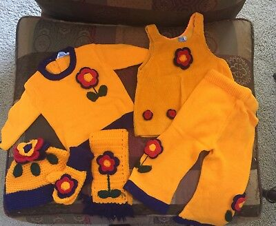 Vintage Swiss Made For Neiman Marcus Girls Knit Set 6 Pieces