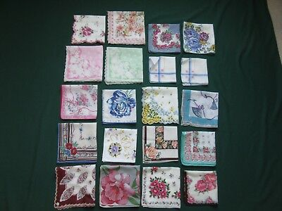 Lot 20 Lovely Vintage Colorful Floral Ladies Hankies Some Tags NOS Swiss Kimball