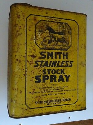 Farm Advertising Can Smith Mfg. Co Stainless Stock Spray Killer Horse Cow Chick