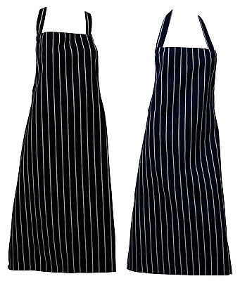 100% Polyester Bleach Resistant Butchers Aprons Woven Stripe Pinny No Pocket
