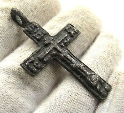 Authentic Medieval / Post Medieval Bronze Cross Pendant - Wearable - E557