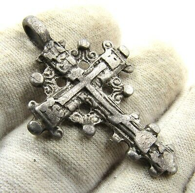 Authentic Medieval / Post Medieval Silver Radiate Cross Pendant - E559