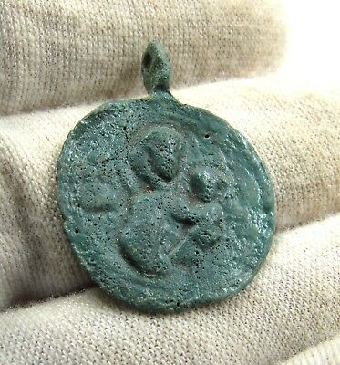 Authentic Ancient Byzantine Bronze Pendant W/ Mary & Jesus - E560