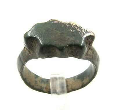 Authentic Ancient Roman Bronze Decorated Ring - Wearable - E564