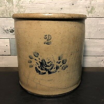 Rare Antique 19th Century 2 Gallon Salt Glazed Stoneware Crock Cobalt Decoration