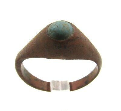 Authentic Late Medieval Tudor Bronze Ring W/ Blue Stone - Wearable - E569