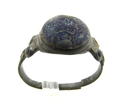 Authentic Late Medieval Tudor Bronze Ring W/ Blue Stones - Wearable - E572