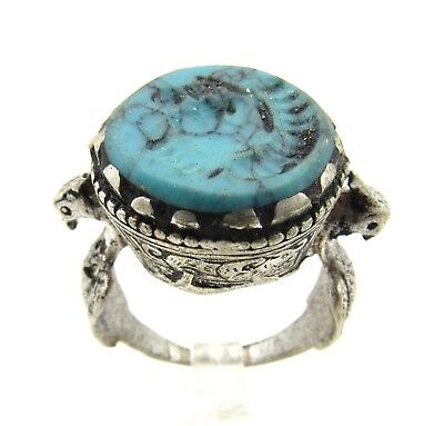 Authentic Post Medieval Silver Ring W/ Intaglio Bust - Wearable - E574