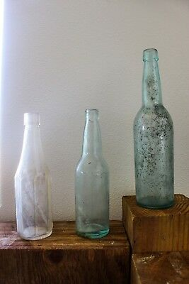 Lot of 3 antique glass bottles. 1886 Adolphus Busch Glass Manufacturing Co.