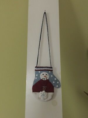 Snowman Punch Needle Hanging Mitten
