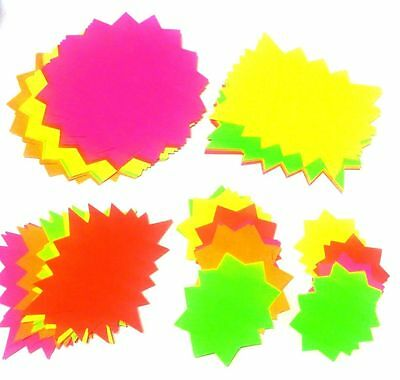 Neon Fluorescent Stars Price Offers Display Tags Assorted Size Flash Bang Cards