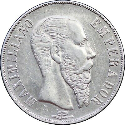 Mexico 1 Peso Mo 1866 Maximilian Empire. Some luster. KM# 388.1